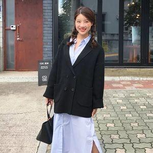 Black knit blazer sweater cardigan